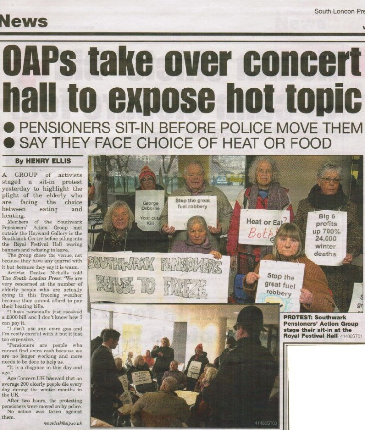 Local media coverage of Southwark pensioners' protest